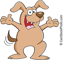 Cartoon dog with extended arms - Cartoon illustration of a...