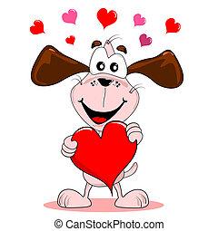 Cartoon dog with love heart