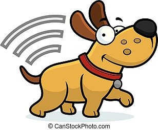 A cartoon illustration of a dog with a microchip.