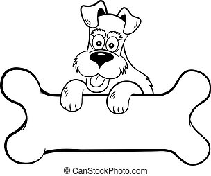Cartoon dog with paws on a banner shaped like a bone.