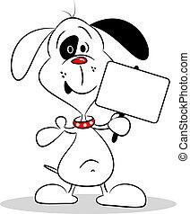 Cartoon Dog with Placard