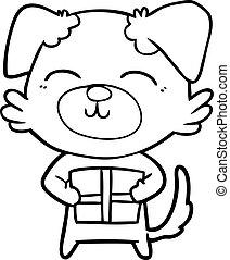 cartoon dog with present