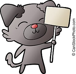 cartoon dog with protest sign
