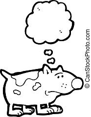 cartoon dog with thought bubble,