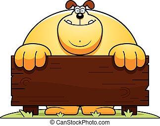 Cartoon Dog Wood Sign