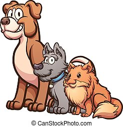 Big, medium and small size cartoon dogs sitting. Vector clip art illustration with simple gradients. Each on a separate layer.