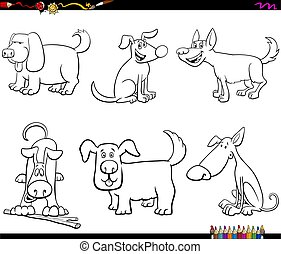 cartoon dogs characters coloring book page
