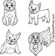 Cartoon dogs coloring page. Isolated set collection with doodle pets. Vector illustration