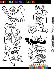 Cartoon Dogs for Coloring Book or Page