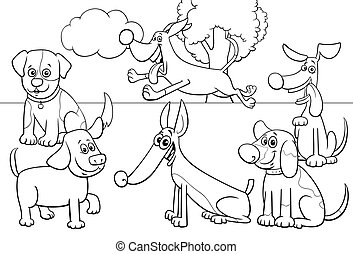 cartoon dogs group coloring book page