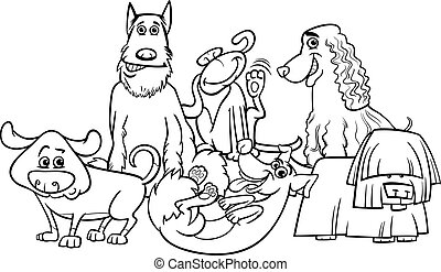 cartoon dogs group coloring page