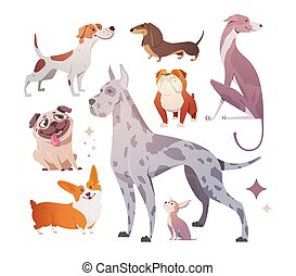 Cartoon dogs of different breeds and sizes.