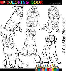 Cartoon Dogs or Puppies Coloring Page - Coloring Book or ...
