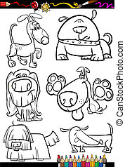 cartoon dogs set for coloring book