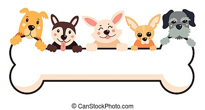Cartoon dogs with a big bone. Vector illustration on a white isolated background