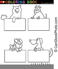 Coloring Book or Coloring Page Black and White Cartoon Illustration of Funny Purebred or Mongrel Dogs with Boards or Cards