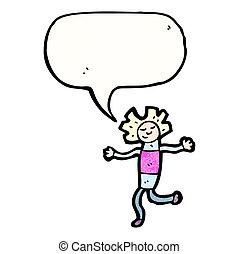 cartoon doll with speech bubble