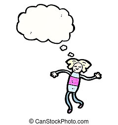 cartoon doll with thought bubble
