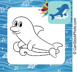 Cartoon dolphin. Coloring page