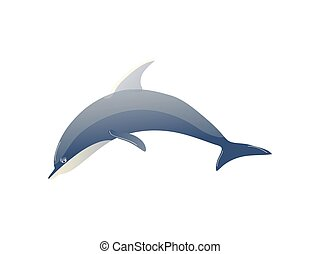 Cartoon dolphin on white background. Water life.