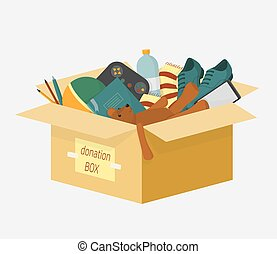 Cartoon donation box with lettering inscription full of things for aid people vector illustration