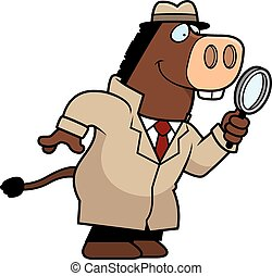 Cartoon Donkey Detective - A cartoon illustration of a...
