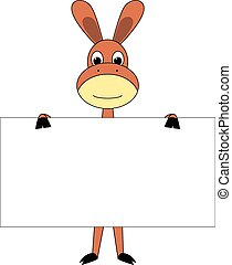 Cartoon donkey with sign board