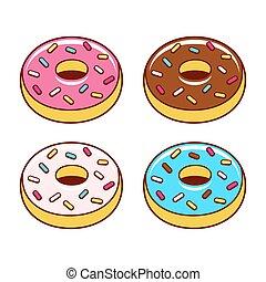 Cartoon donuts set