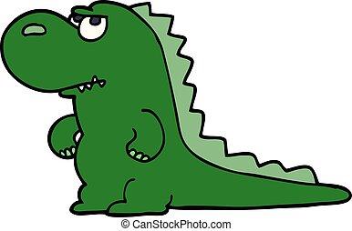 cartoon doodle annoyed dinosaur