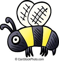 cartoon doodle anxious bee