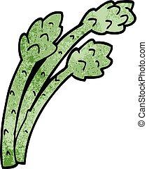 cartoon doodle asparagus plant