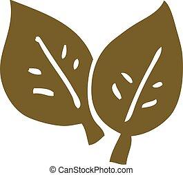 cartoon doodle autumn leaves