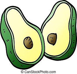 cartoon doodle avocado