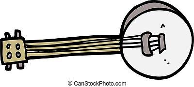 cartoon doodle banjo