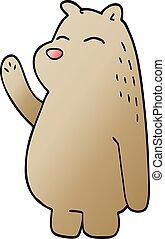 cartoon doodle bear waving