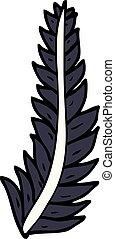 cartoon doodle black feather
