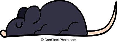 cartoon doodle black rat