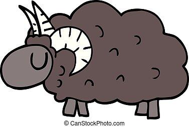 cartoon doodle black sheep