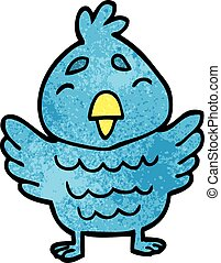 cartoon doodle blue bird