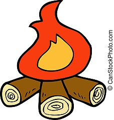 Cartoon doodle bonfire on a white background vector...