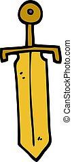 cartoon doodle bronze sword