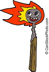 cartoon doodle burnt match