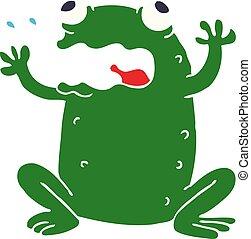cartoon doodle burping toad