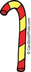 cartoon doodle candy cane