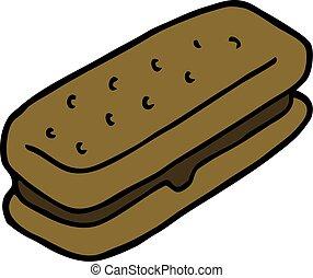 cartoon doodle chocolate biscuit