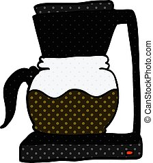 cartoon doodle coffee filter machine