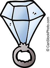 cartoon doodle diamond ring