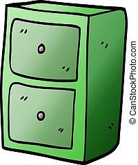 cartoon doodle filing cabinet