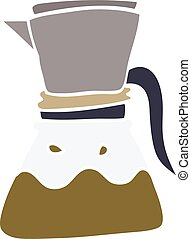 cartoon doodle filter coffee maker