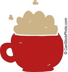 cartoon doodle foaming latte